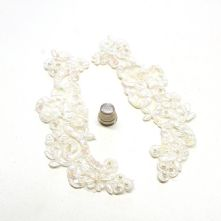 Ivory and Pearl Beaded Corded Lacel Applique x 2